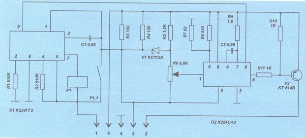 Схема реле-прерывателя